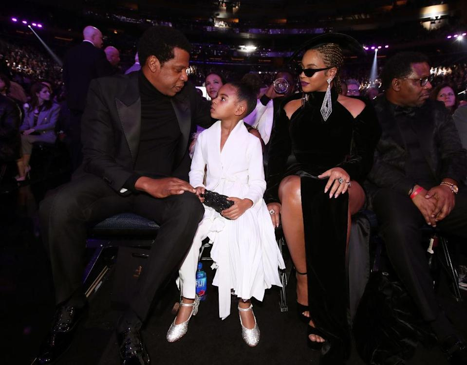Jay-Z, Blue Ivy, and Beyoncé appear in the Grammys audience together. (Photo: Getty Images)