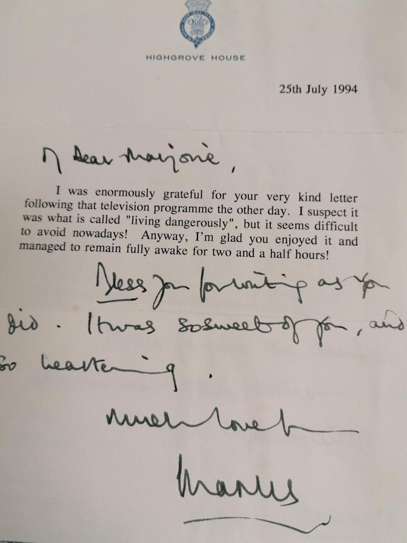 Undated handout photo issued by Hansons of the envelope and first page of a letter from the Prince of Wales to Marjorie Dawson, who served as personal dresser and maid to the Queen's cousin Princess Alexandra for 36 years, after his appearance in a 1994 documentary with biographer Jonathan Dimbleby, where he admitted adultery on television.