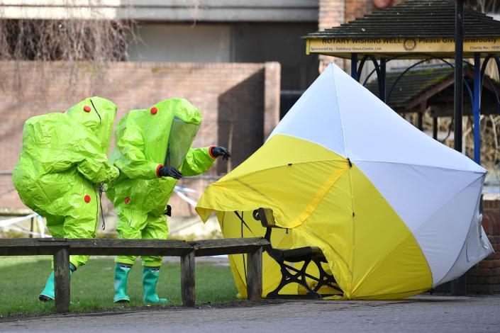"British detectives on March 8 scrambled to find the source of the nerve agent used in the ""brazen and reckless"" attempted murder of Sergei Skripal, 66, a Russian former double agent, and his daughter. (Photo: Mark Stansall/AFP/Getty Images)"