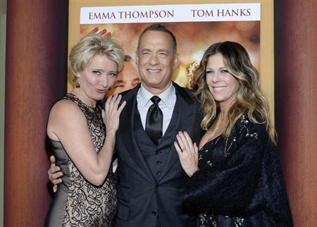 """Cast member Thompson, Hanks and his wife Wilson attend the film premiere of """"Saving Mr. Banks,"""" at the Walt Disney Studios in Burbank"""