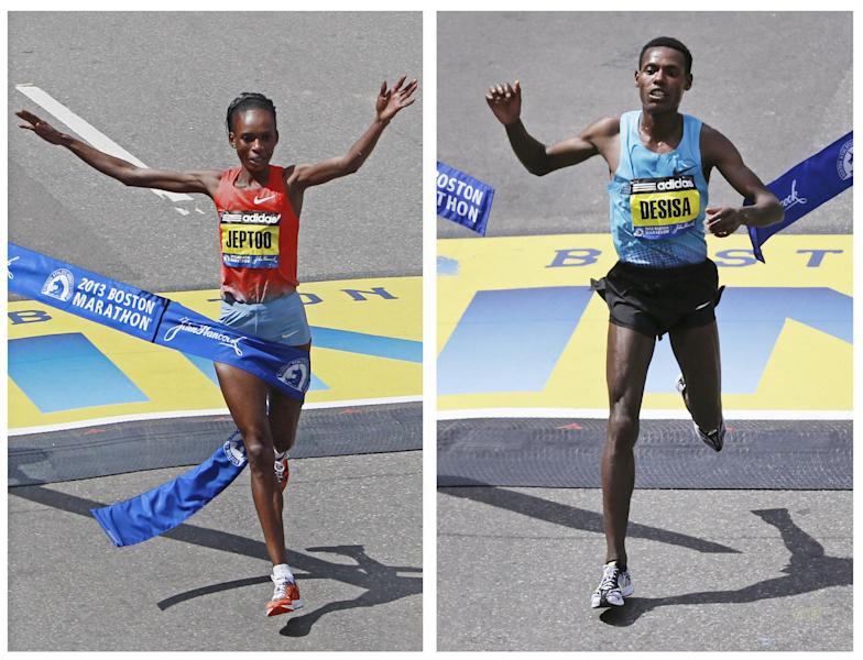 This two image combination photograph shows Rita Jeptoo, of Kenya, left, and Lelisa Desisa, of Ethiopia, right, crossing the finish line to win the women's and men's division of the 2013 running of the Boston Marathon in Boston, Monday, April 15, 2013. (AP Photo/Charles Krupa)