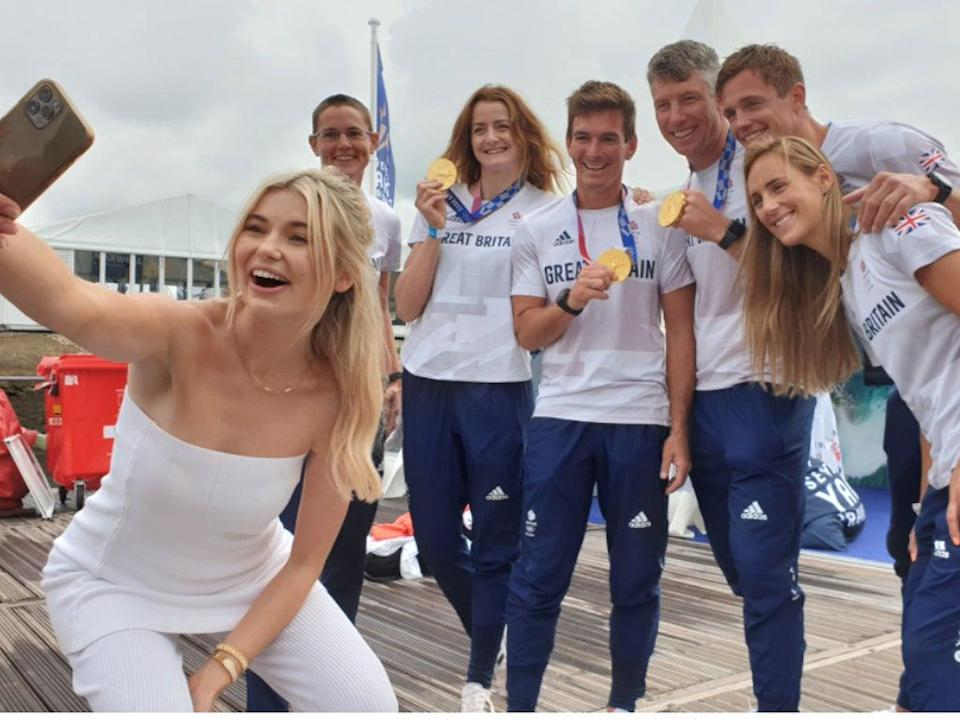 Former Queen of the Jungle Georgia Toffolo takes a selfie with Team GB athletes at Southampton International Boat Show (Jamie Nagioff/Ready10)