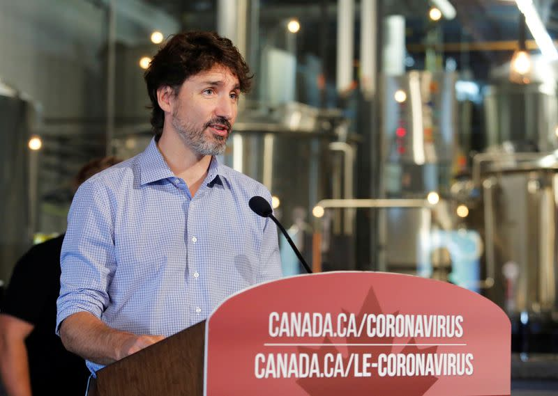 FILE PHOTO: Canada's Prime Minister Justin Trudeau visits the Big Rig Brewery in Kanata