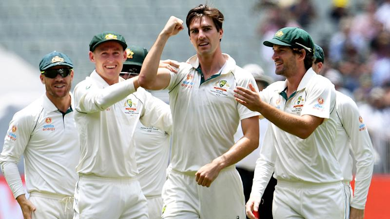 Seen here, Aussie fast bowler Pat Cummins celebrates his five-wicket haul against New Zealand.