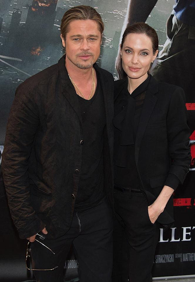 PARIS, FRANCE - JUNE 03:  Brad Pitt and Angelina Jolie attend the World War Z Paris premiere at Cinema UGC Normandie on June 3, 2013 in Paris, France.  (Photo by Dominique Charriau/WireImage)