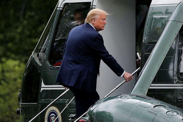 PHOTO: President Donald Trump boards the Marine One helicopter as he departs for travel to the Kennedy Space Center in Florida from the South Lawn at the White House, May 27, 2020. (Carlos Barria/Reuters)
