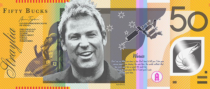 Shane Warne, Southern Cross tattoos and Cathy Freeman on the $50. Photo: Aaron Tyler