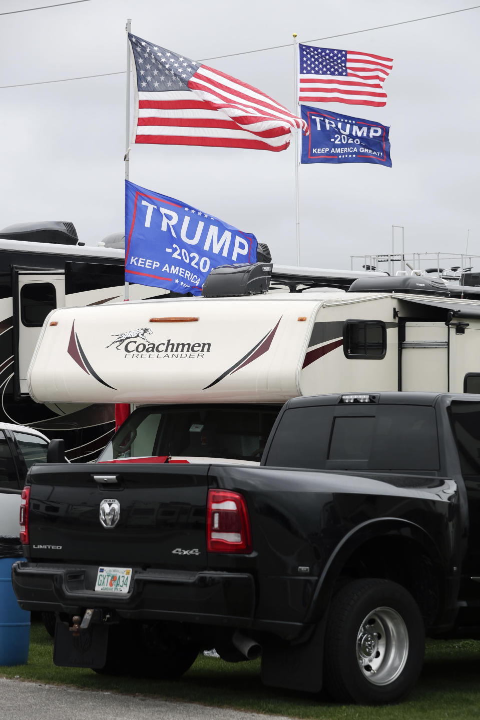 Flags supporting President Donald Trump fly in the infield days before his appearance at the NASCAR Daytona 500 auto race at Daytona International Speedway, Friday, Feb. 14, 2020, in Daytona Beach, Fla. Trump will find Daytona International Speedway as welcoming as one of his campaign rallies. (AP Photo/John Raoux)