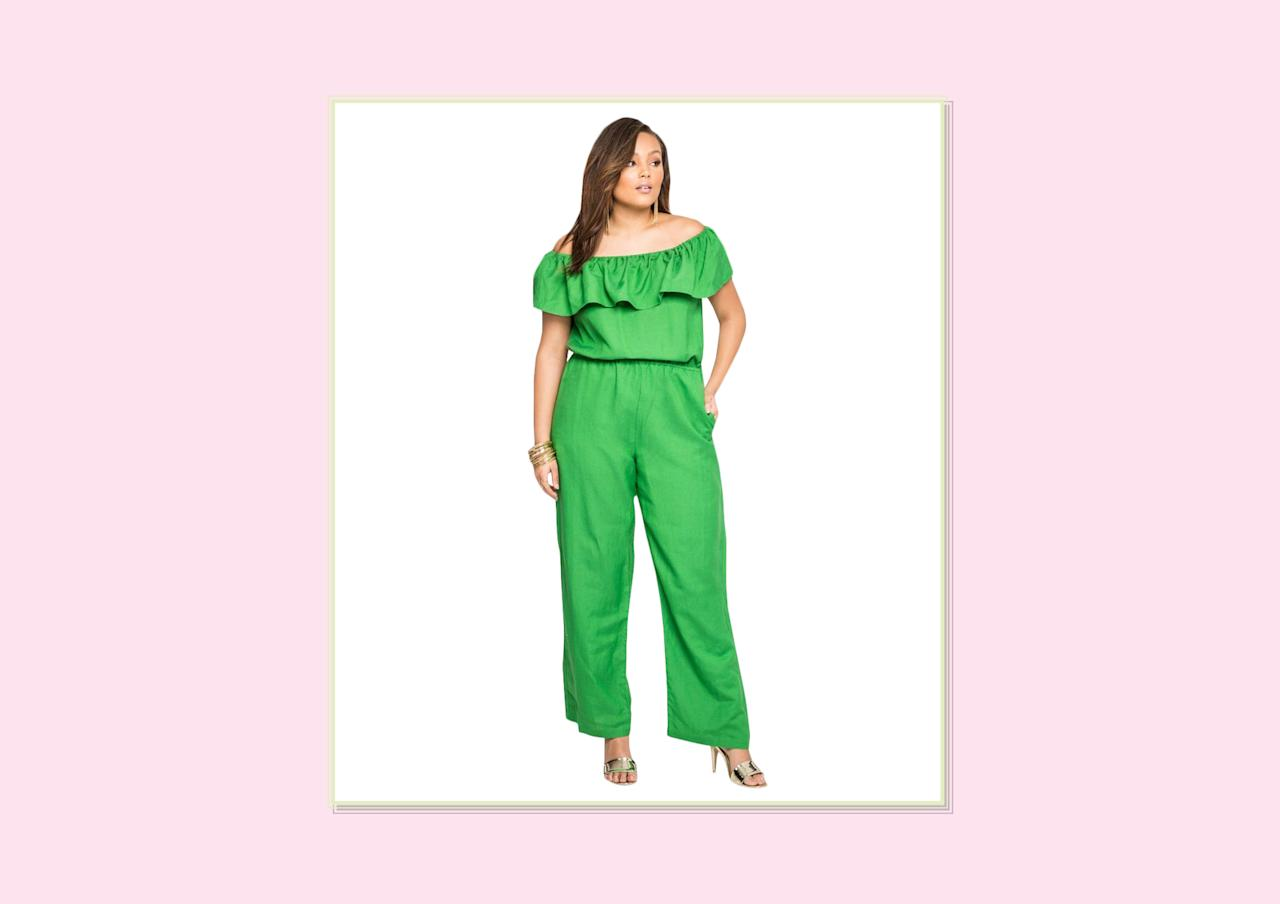 "<p>Ruffle off-the-shoulder linen jumpsuit, $59.50, <a rel=""nofollow"" href=""http://www.ashleystewart.com/ruffle-off-shoulder-linen-jumpsuit/010-573519A.html?dwvar_010-573519A_color=0310#start=18&cgid=new"">Ashley Stewart</a>. </p>"