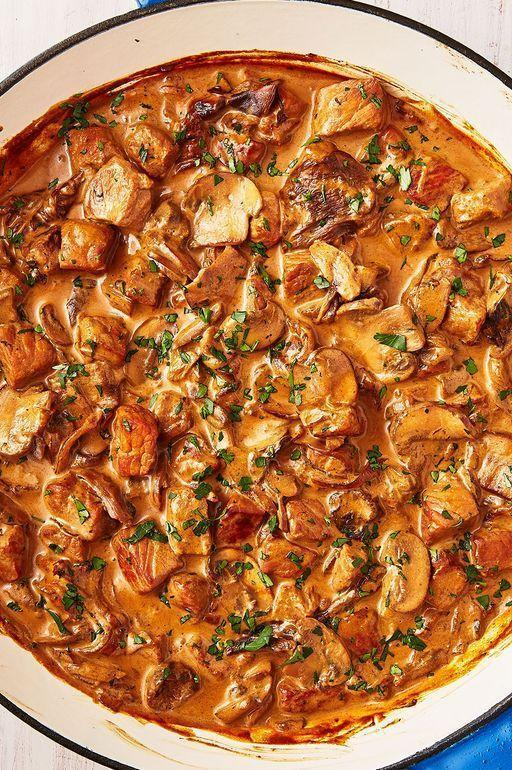 "<p><a href=""http://www.delish.com/uk/pork"" rel=""nofollow noopener"" target=""_blank"" data-ylk=""slk:Pork"" class=""link rapid-noclick-resp"">Pork</a> stroganoff is such an easy, flavourful dinner to make. Using pork fillet is perfect because it's such a tender cut, and really easy to cook with. Load your stroganoff up with mushrooms, mustard and sherry for the most delicious meal. </p><p>Get the <a href=""https://www.delish.com/uk/cooking/recipes/a29782416/pork-stroganoff/"" rel=""nofollow noopener"" target=""_blank"" data-ylk=""slk:Pork Stroganoff"" class=""link rapid-noclick-resp"">Pork Stroganoff</a> recipe.</p>"