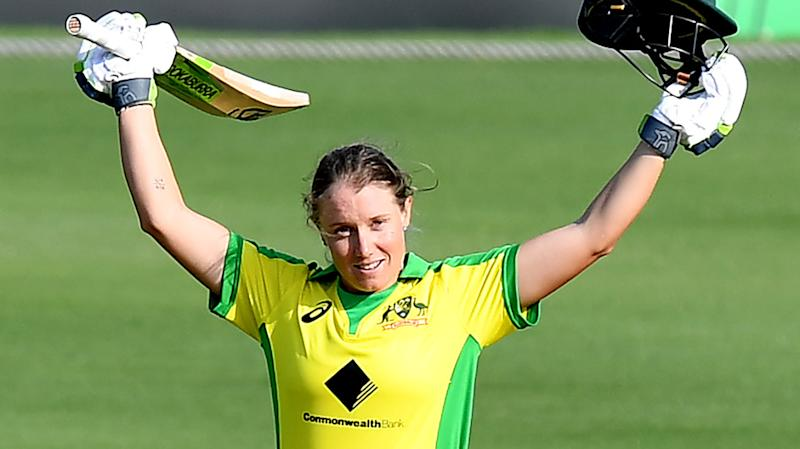 Australia's Alyssa Healy, pictured after scoring a century against Sri Lanka, helped guide the team to an 18th consecutive ODI win.
