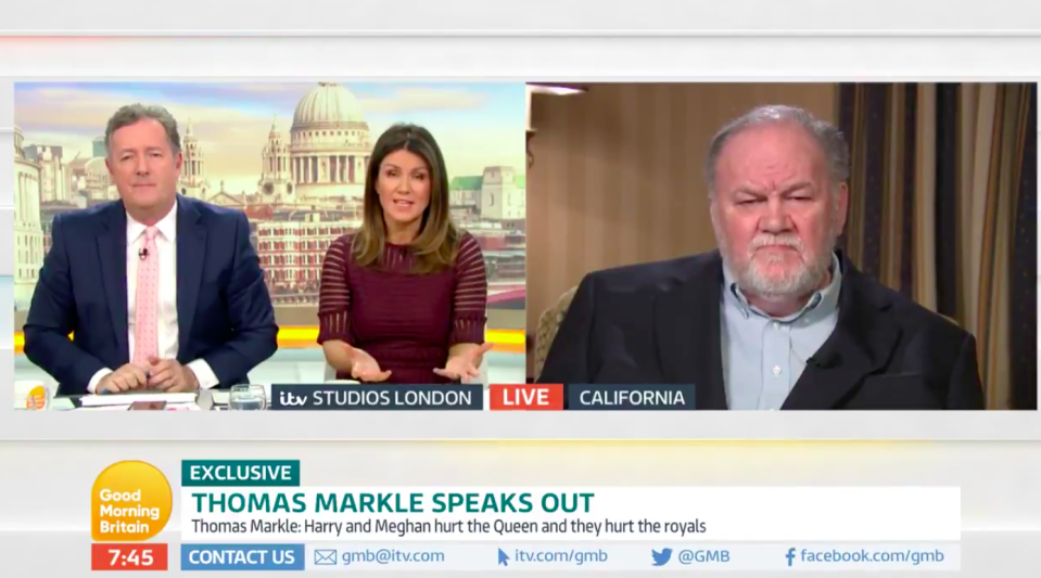 Mr Markle, right, was interviewed by Piers Morgan and Susanna Reid (Picture: GMB/ITV)