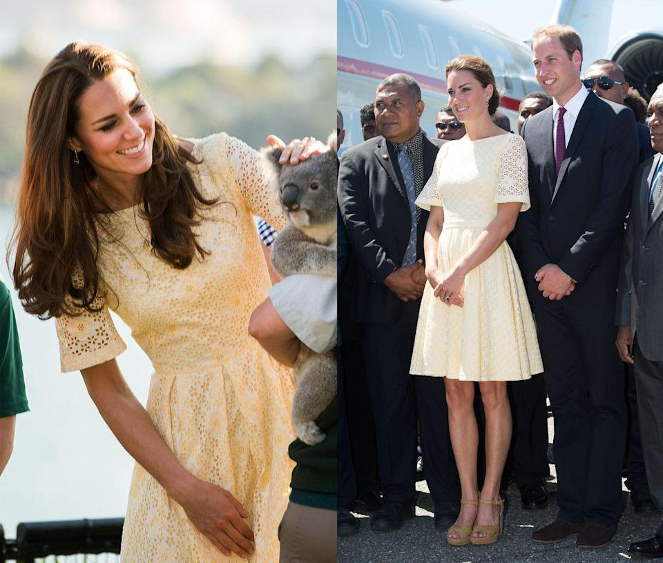 <p>Middleton wore this yellow eyelet A-line frock while on the Diamond Jubilee Tour in 2012 and while visiting Australia in 2014. </p>
