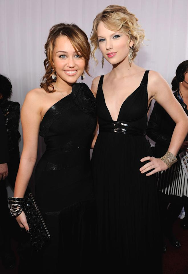 """<a href=""""/miley-cyrus/contributor/1257961"""">Miley Cyrus</a> and <a href=""""/taylor-swift/contributor/2284807"""">Taylor Swift</a> arrive at the 51st Annual Grammy Awards at the Staples Center on February 8, 2009, in Los Angeles."""