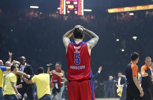 Cska Moscow's Vladimir Micov reacts at the end of the Basket Euroleague Final Four semifinal match between CSKA Moscow and Maccabi Tel Aviv, in Milan, Italy, Friday, May 16, 2014. Cska lost 67-68. (AP Photo/Antonio Calanni)