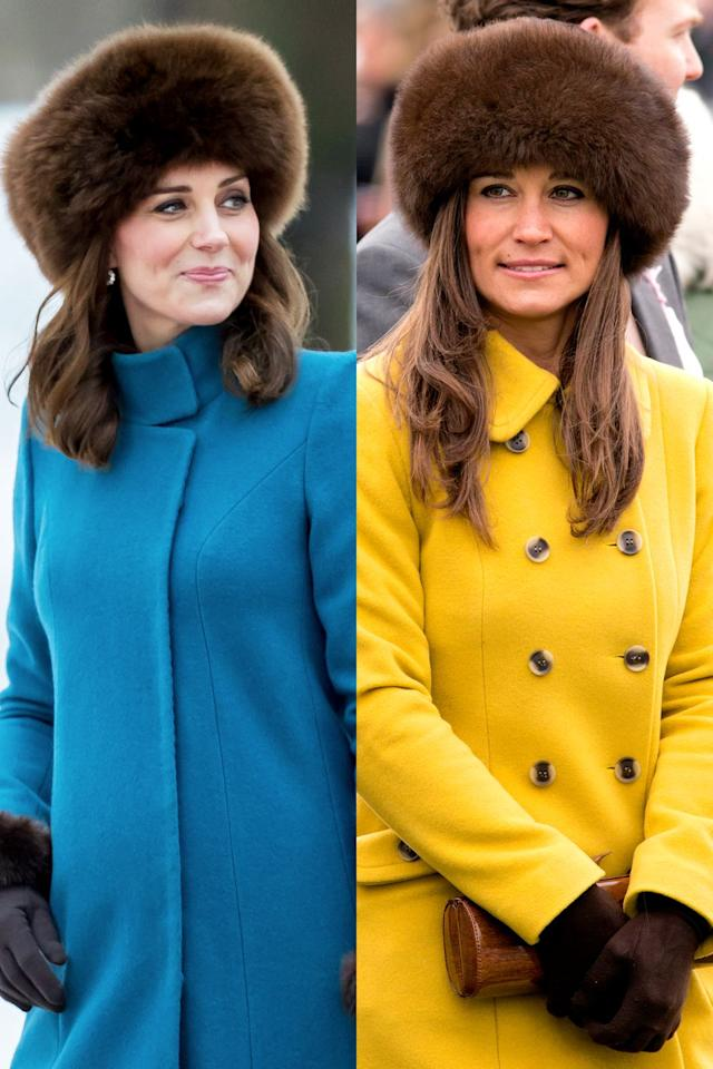 <p>For a visit to Norway in February 2018, Kate braved the cold in a blue Catherine Walker coat and a furry chocolate brown hat from Lacorine. The winter accessory was nearly identical to the one Pippa wore in March 2013, when she attended The Cheltenham Festival in London. Pippa, however, styled the hat with a bright yellow double-breasted coat and brown suede gloves.</p>