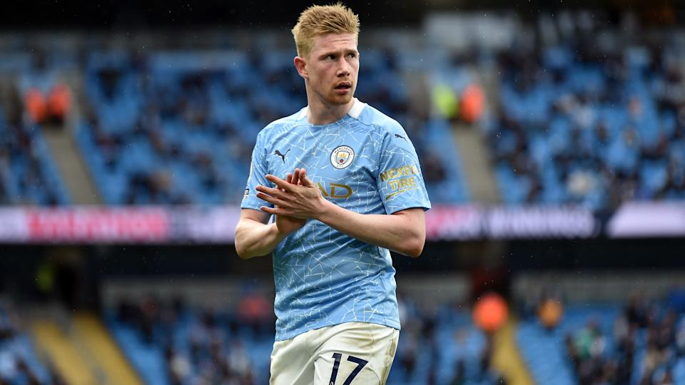 Manchester City's Kevin De Bruyne during the Premier League match at the Etihad Stadium, Manchester. Picture date: Sunday May 23, 2021. (Photo by Peter Powell/PA Images via Getty Images)