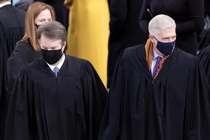 U.S. Supreme Court Associate Justices Brett Kavanaugh, Amy Coney Barrett and Neil M. Gorsuch arrive to the inauguration of U.S. President-elect Joe Biden on the West Front of the U.S. Capitol on January 20, 2021 in Washington, DC.  (Alex Wong/Getty Images)