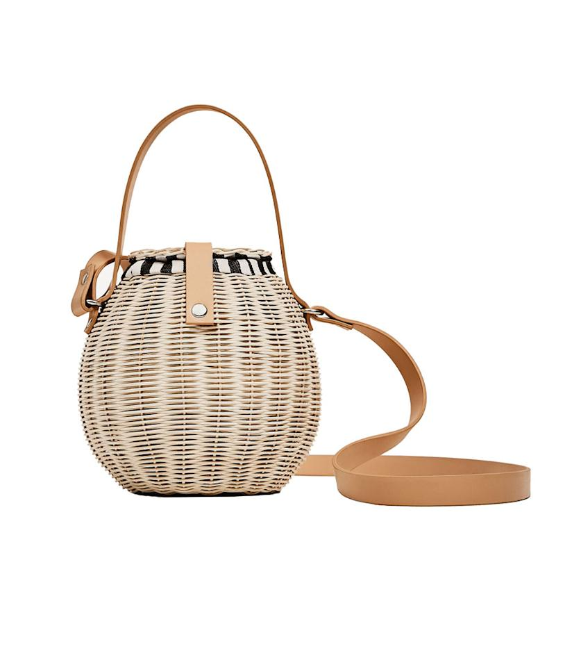 "<p>Raffia Bucket Bag, $60, <a rel=""nofollow"" href=""http://www.zara.com/us/en/woman/bags/view-all/raffia-bucket-bag-c819022p4227026.html"">zara.com</a>. </p>"