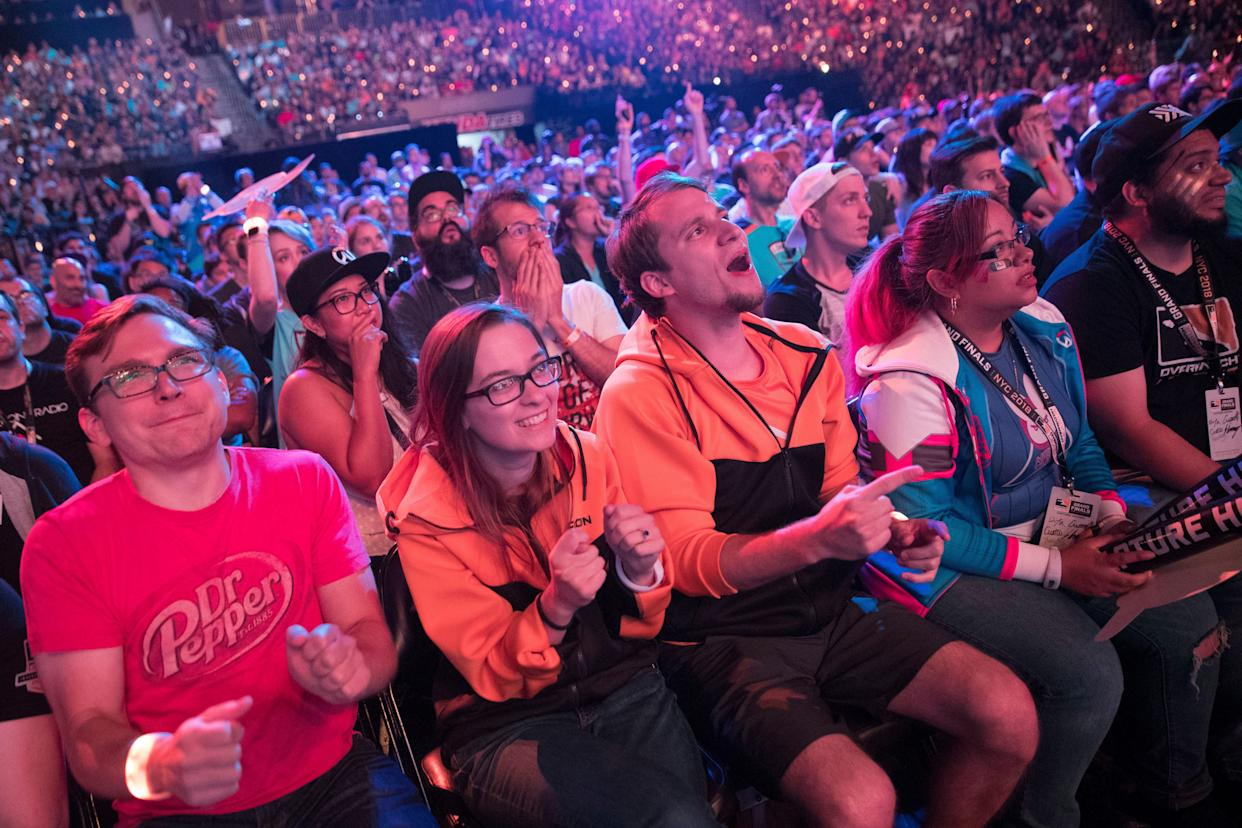 Philadelphia Fusion fans watch the Overwatch League Grand Finals at Barclays Center in New York on July 28, 2018. (AP/Mary Altaffer)