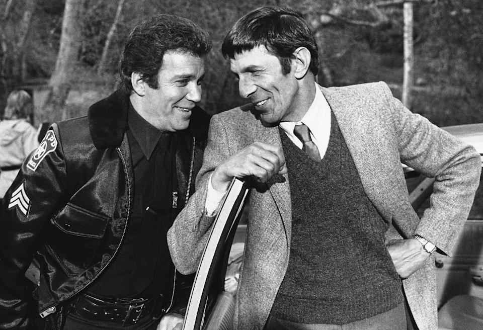 """William Shatner and Leonard Nimoy, the dynamic duo in """"Star Trek,"""" meet again on Jan. 29, 1983 after 13 years in an upcoming episode of ABC's """"T.J. Hooker,"""" in which Shatner portrays the star, Hooker, and Nimoy his former partner and now a lieutenant who's after the man who allegedly attacked his daughter. The episode is scheduled to air on February 5. (AP Photo/Lennox Mclendon)"""
