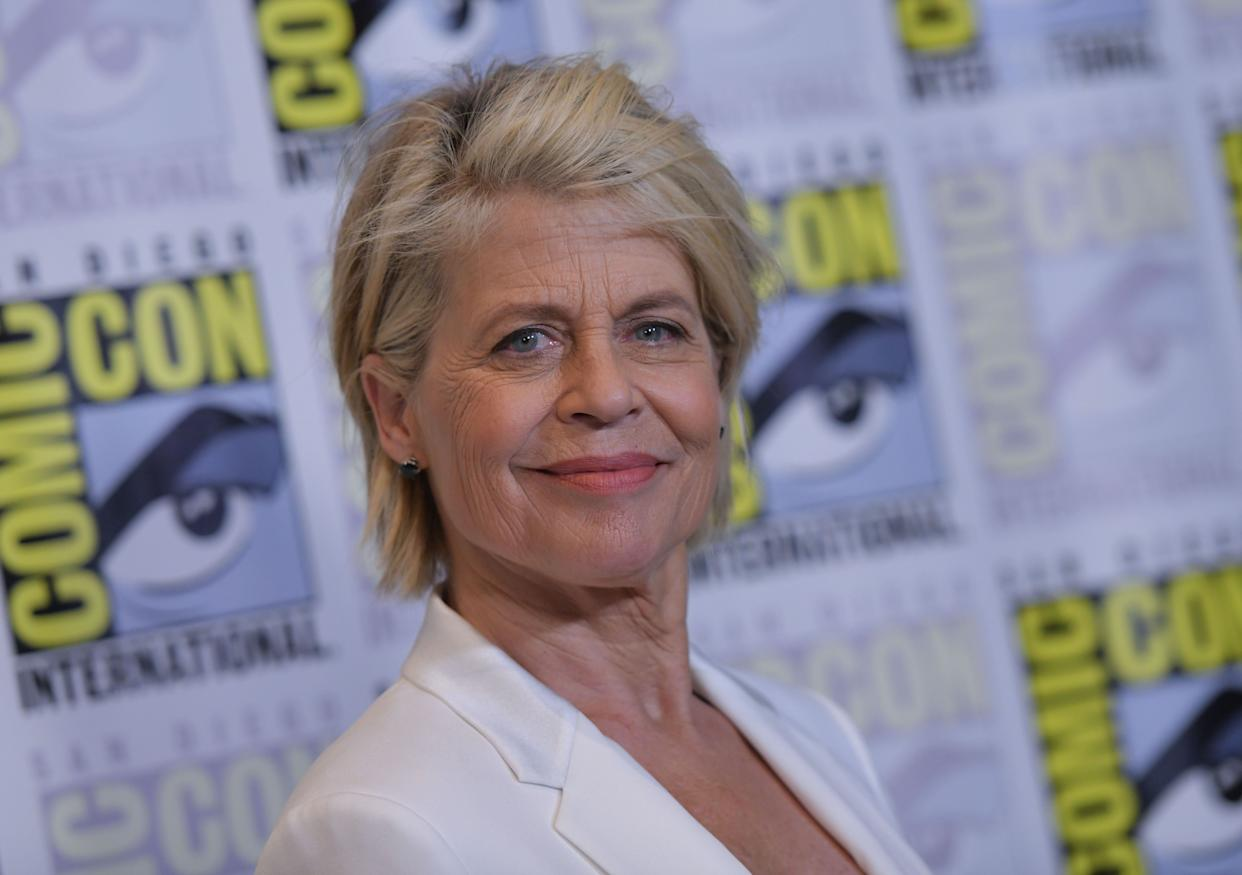 """Linda Hamilton arrives for the """"Terminator: Dark Fate"""" red carpet event at the Hilton Bayfront during Comic-Con in San Diego, California. (Photo: CHRIS DELMAS via Getty Images)"""