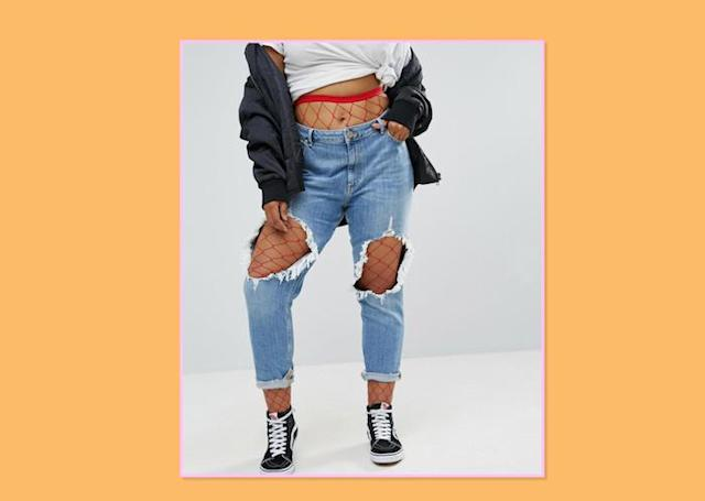 "<p>The '90s grunge trend is making a major comeback. Available in a variety of colors, fishnet tights should be worn under your favorite destroyed denim for a cool-girl look with just enough edge. ASOS Curve Oversized Fishnet Tights, $10, <a href=""http://us.asos.com/asos-curve/asos-curve-oversized-fishnet-tights-red/prd/7996681?iid=7996681&clr=Red&SearchQuery=curve%20tights&pgesize=28&pge=0&totalstyles=28&gridsize=3&gridrow=1&gridcolumn=2"" rel=""nofollow noopener"" target=""_blank"" data-ylk=""slk:ASOS"" class=""link rapid-noclick-resp"">ASOS </a> </p>"