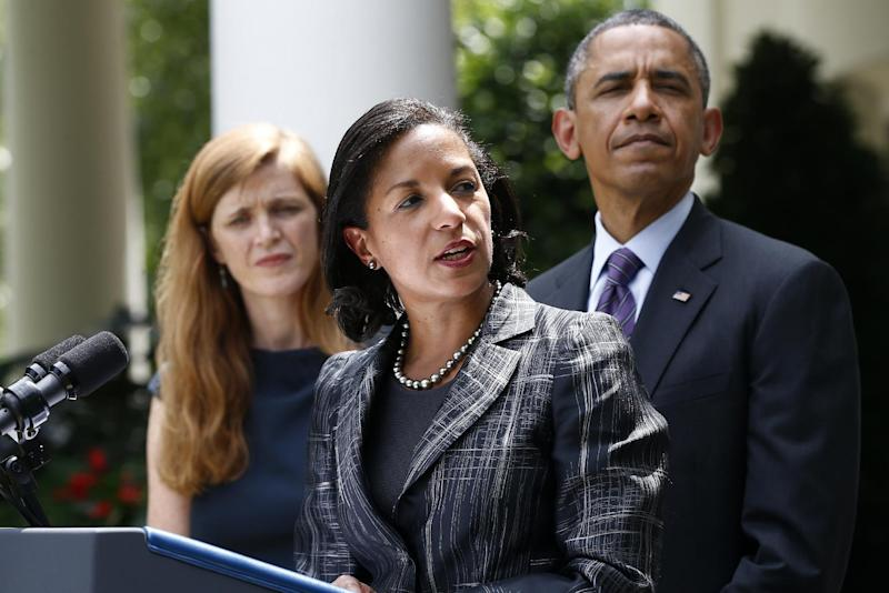 President Barack Obama listens as UN Ambassador Susan Rice, his choice to be his next National Security Adviser, speaks in the Rose Garden at the White House in Washington, Wednesday, June 5, 2013, where the president made the announcement. Samantha Power, his nominee to be the next UN Ambassador is at left. (AP Photo/Charles Dharapak)
