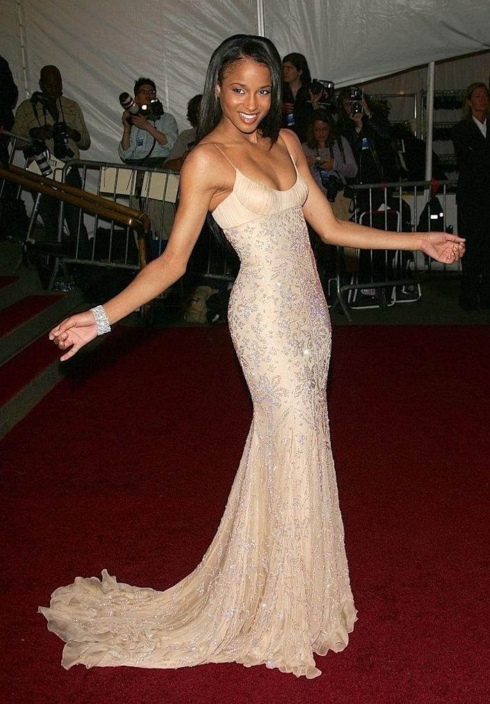 Ciara wore a floor-length sequined gown
