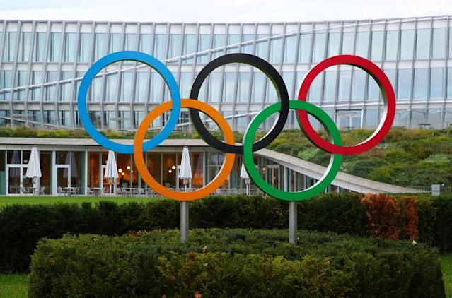 The IOC headquarters is pictured before an Executive Board meeting in Lausanne