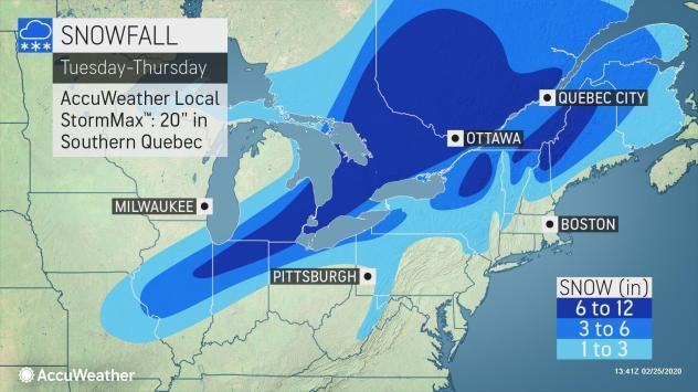Heavy snow is forecast from the central Plains to northern New England over the next couple of days.