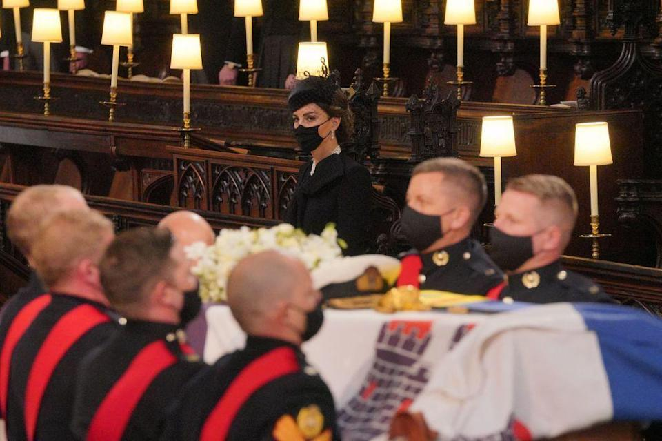 <p>Duchess Kate inside St. George's Chapel during the funeral service.</p>