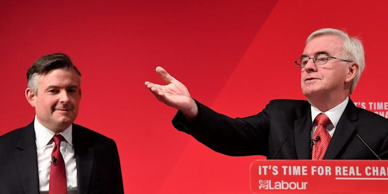Shadow Chancellor John McDonnell gestures next to Jonathan Ashworth, the Shadow Secretary of State for Health and Social Care, at an election campaign event in London, Britain November 13, 2019. REUTER/Toby Melville