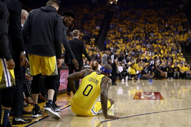 DeMarcus Cousins will not need surgery for his torn quad that he suffered in Game 2 of their playoff series against the Los Angeles Clippers on Monday. (Getty Images)
