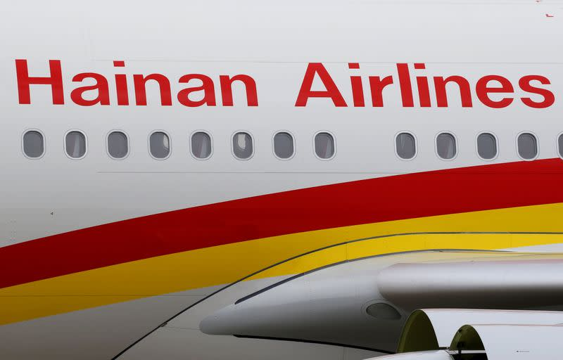 FILE PHOTO: Hainan Airlines Airbus commercial passenger aircraft is pictured in Colomiers near Toulouse