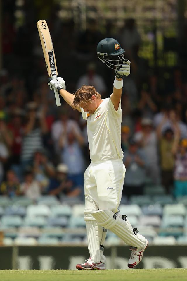 PERTH, AUSTRALIA - DECEMBER 16: Shane Watson of Australia celebrates after reaching his century during day four of the Third Ashes Test Match between Australia and England at WACA on December 16, 2013 in Perth, Australia. (Photo by Mark Kolbe/Getty Images)