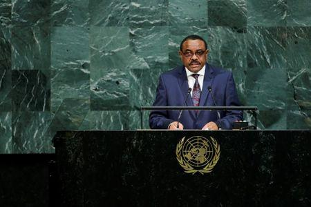 FILE PHOTO - Ethiopian Prime Minister Desalegn addresses the 72nd United Nations General Assembly at U.N. headquarters in New York