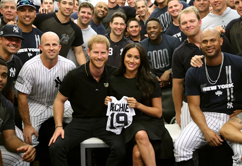 Harry and Meghan join the New York Yankees in their clubhouse and receive gifts for Archie ahead of their match against the Boston Red Sox at the London Stadium.
