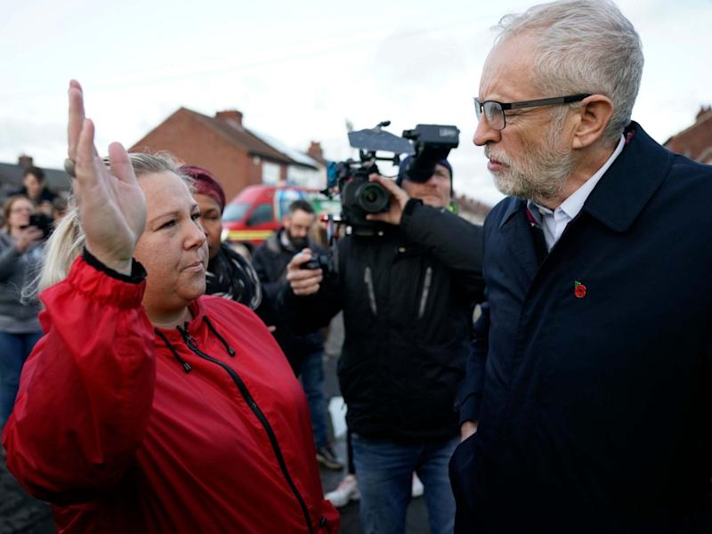 Jeremy Corbyn meets families and volunteers in flood-hit Doncaster, South Yorkshire: Getty