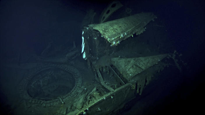 In this Oct. 7, 2019 image taken from underwater video provided by Vulcan Inc., the Japanese aircraft carrier Kaga is shown in the Pacific Ocean off Midway Atoll in the Northwestern Hawaiian Islands. Deep-sea explorers scouring the world's oceans for sunken World War II ships are honing in on a debris field deep in the Pacific. Weeks of grid searches around the Northwestern Hawaiian Islands already have led the research vessel the Petrel to one sunken battleship, the Kaga, and it's investigating this week what could be another. (Vulcan Inc. via AP)
