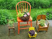 """<div class=""""caption-credit"""">Photo by: Nancy Ondra</div><div class=""""caption-title"""">Have a Seat</div>Convert old wooden, wicker or plastic chairs into uncommon containers by cutting a hole in the seat and slipping in a pot of flowers. Doll-sized chairs don't need any extra preparation: Simply set a small pot right on the seat."""