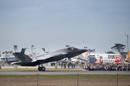 A Lockheed Martin Corp F-35 stealth fighter jet lands at the Avalon Airshow in Victoria