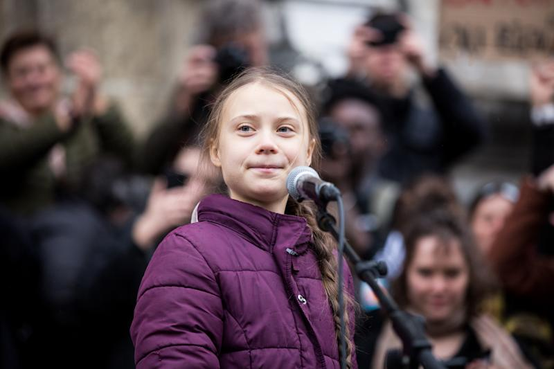 LAUSANNE, SWITZERLAND - JANUARY 17: Swedish climate activist Greta Thunberg speaks to participants at a climate change protest on January 17, 2019 in Lausanne, Switzerland. The protest is taking place ahead of the upcoming annual gathering of world leaders at the Davos World Economic Forum. (Photo by Ronald Patrick/Getty Images)