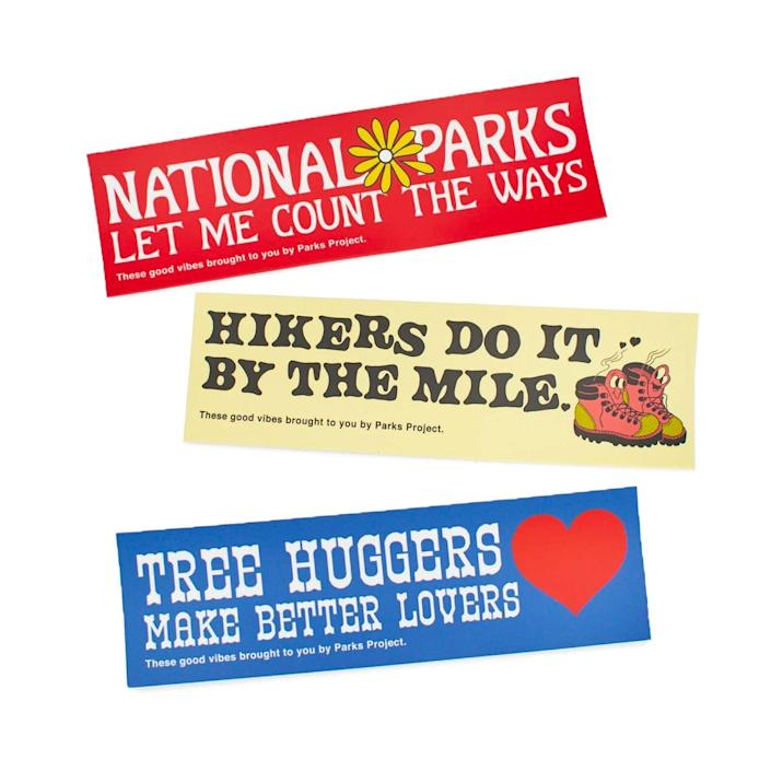 """Bumpers stickers we can all get behind. $8, Parks Project. <a href=""""https://www.parksproject.us/products/park-lovers-bumper-sticker-3-pack"""" rel=""""nofollow noopener"""" target=""""_blank"""" data-ylk=""""slk:Get it now!"""" class=""""link rapid-noclick-resp"""">Get it now!</a>"""