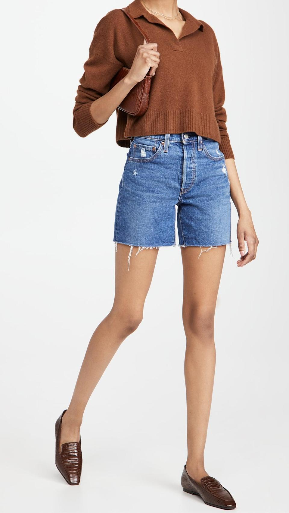 <p>If you're looking for a longer jean short this summer, go for these classic <span>Levi's 501 Mid Thigh Shorts</span> ($70).</p>
