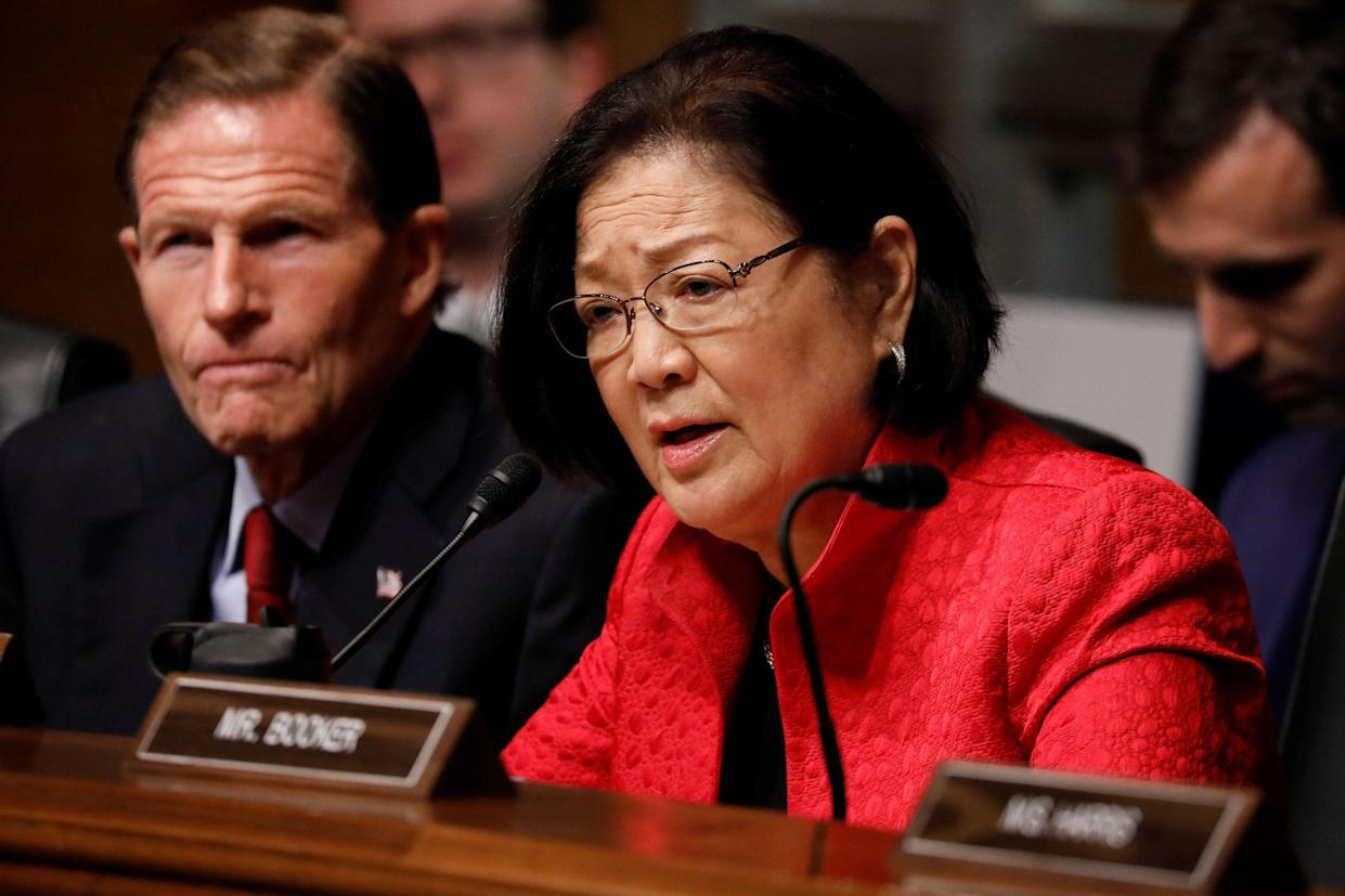 Sen. Hirono asks a question as U.S. Attorney General William Barr testifies before the Senate Judiciary Committee in May. (Photo: Aaron P. Bernstein/Reuters)
