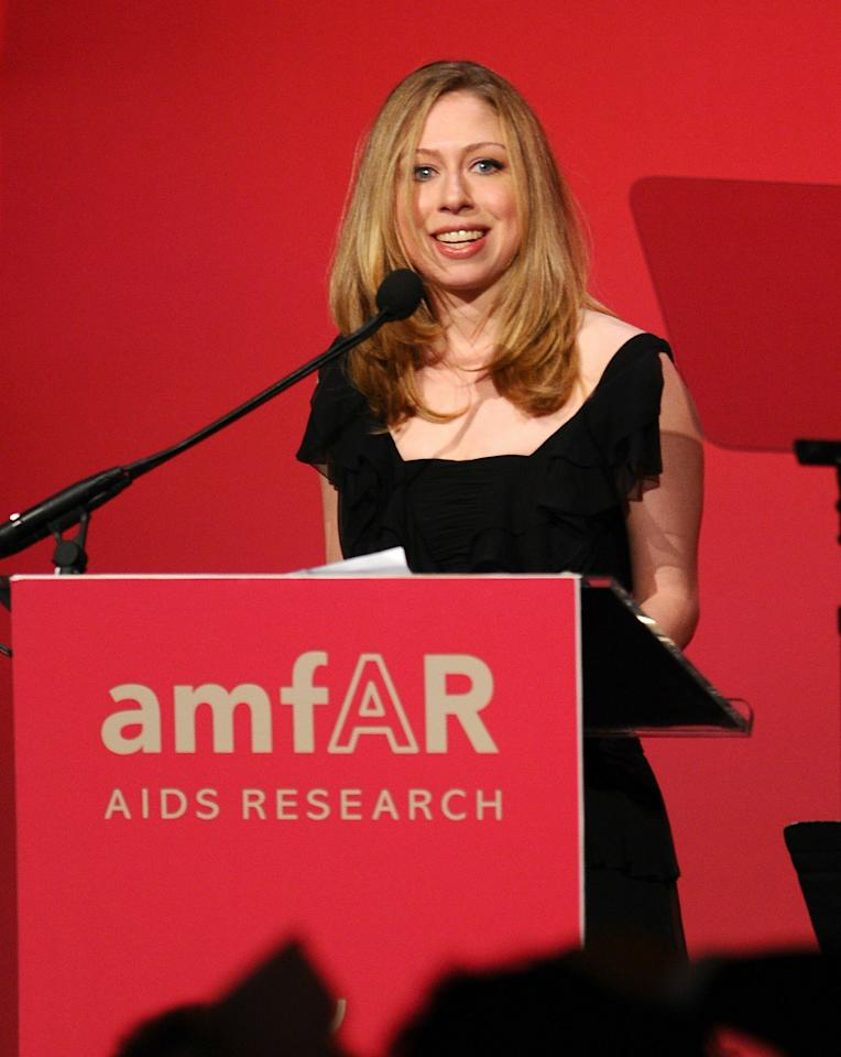 NEW YORK, NY - FEBRUARY 09: Chelsea Clinton speaks at the amfAR New York Gala to kick off Fall 2011 Fashion Week at Cipriani Wall Street on February 9, 2011 in New York City.  (Photo by Andrew H. Walker/Getty Images)