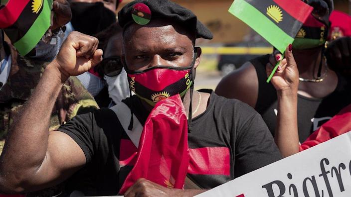 An Ipob member with raised fist