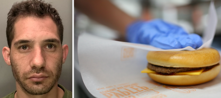 Daniel Parra-Braun was forced to buy a cheeseburger so he could roba branch of McDonald's (SWNS/Getty)