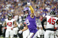 """FILE - Minnesota Vikings wide receiver Adam Thielen celebrates after catching a 23-yard touchdown pass during the first half of an NFL football game against the Atlanta Falcons, Sunday, Sept. 8, 2019, in Minneapolis. The coronavirus pandemic scuttled most college pro days, wiped out all rookie minicamps and obliterated the NFL's traditional offseason. """"Honestly, I probably wouldn't be in the NFL if this would've happened my rookie year,"""" said Vikings two-time Pro Bowl receiver Adam Thielen, who went undrafted in 2013 out of Minnesota State but parlayed an impressive weekend at a rookie minicamp into a practice squad job and eventually a roster spot.(AP Photo/Bruce Kluckhohn, File)"""